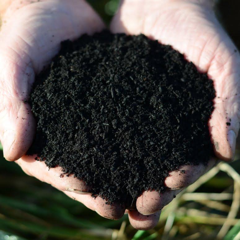 organic soil improver held in hands