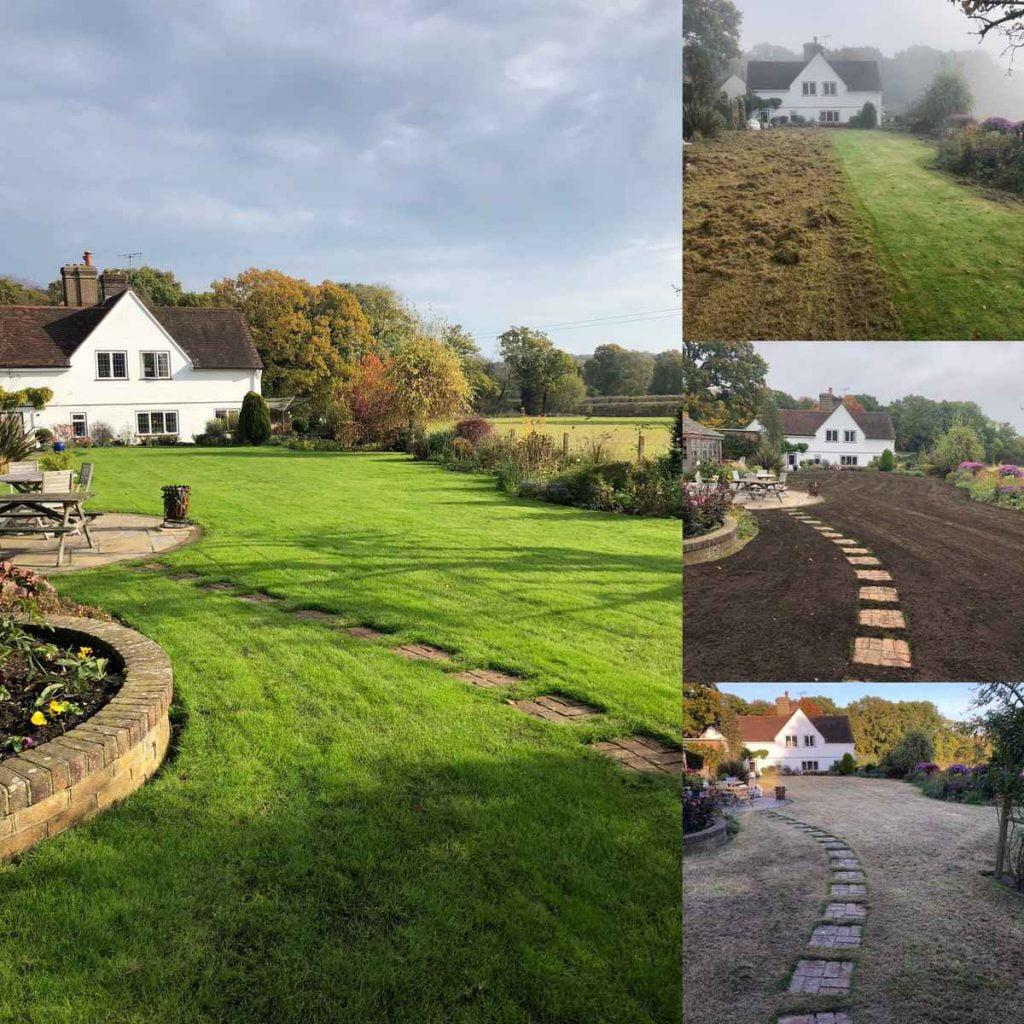 lawn renovation in progress